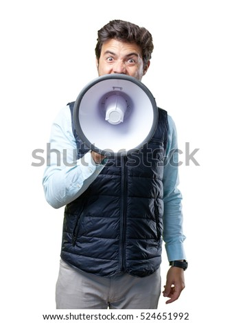 Man with vest shouting on microphone