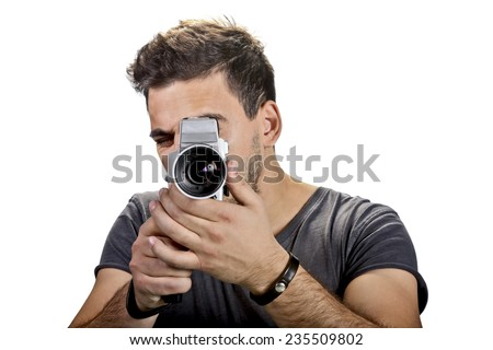 Man with video camera - stock photo