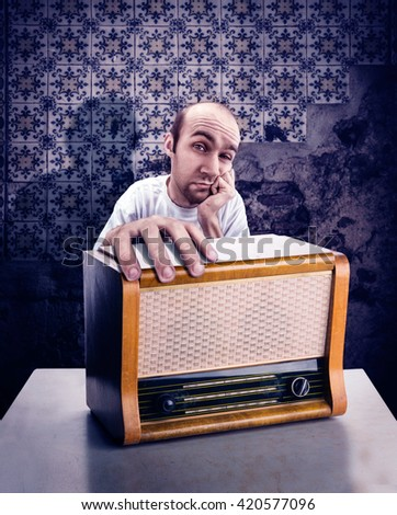 Man with vintage radio