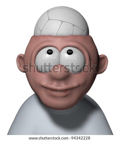 man with volleyball in his head - 3d illustration - stock photo