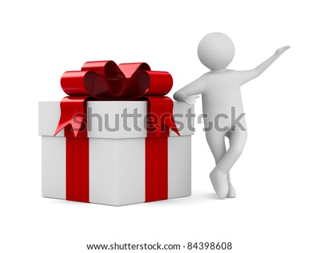 Man with white gift box. Isolated 3D image - stock photo