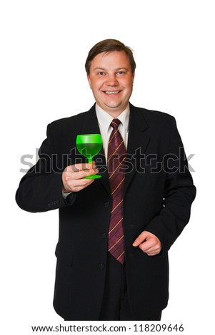Man with wine glass isolated on white background - stock photo