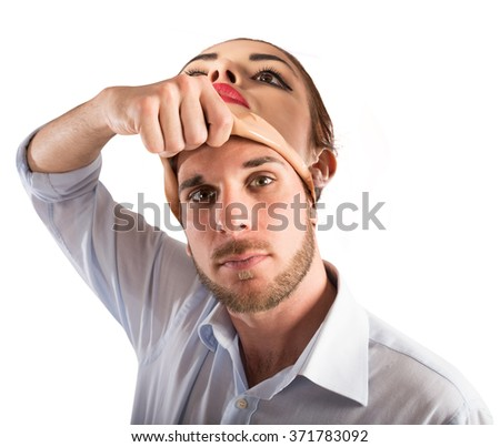 Man with woman face - stock photo