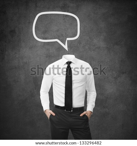 man without head with empty bubbles speech - stock photo