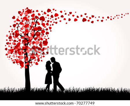 Man, Woman and Love tree with hearts on a grass, illustration - stock photo