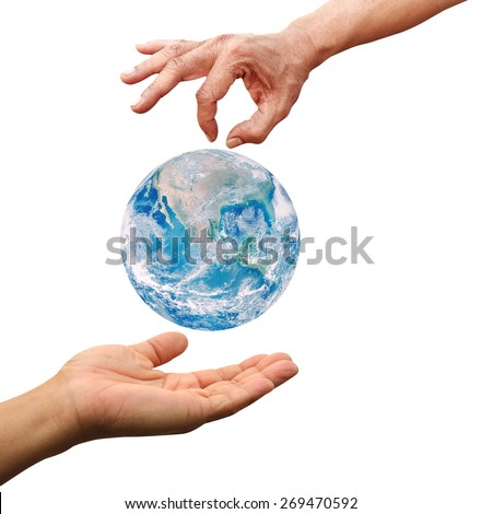 Man woman hands palm up with global image over white Elements of this image furnished by NASA - stock photo