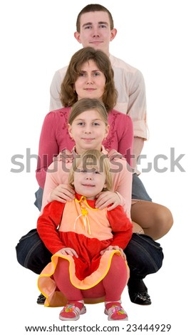 Man,women and childs on a white background - stock photo