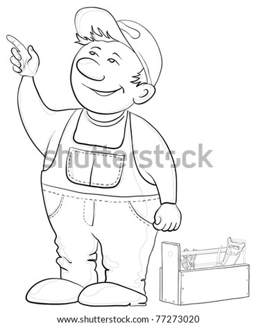 Man worker in a cap and a uniform with a toolbox, contours - stock photo