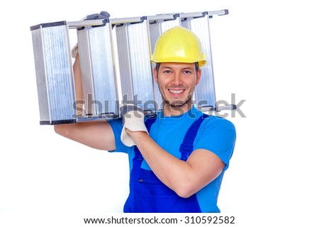 man worker with ladder on arm - stock photo