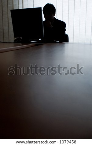 Man working at the computer - stock photo