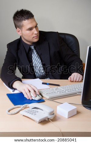 man working at the office - stock photo