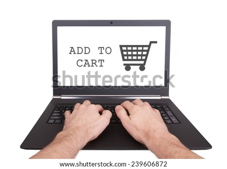 Man working on laptop, add to cart, isolated - stock photo