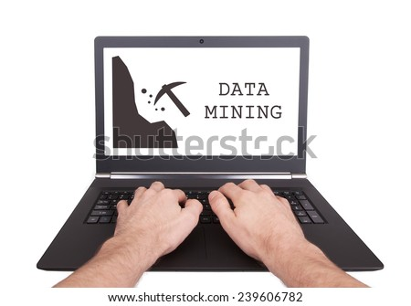 Man working on laptop, data mining, isolated - stock photo