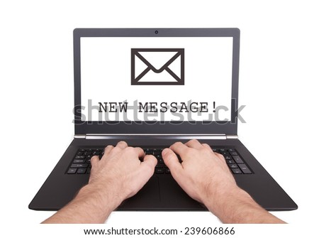 Man working on laptop, new message, isolated
