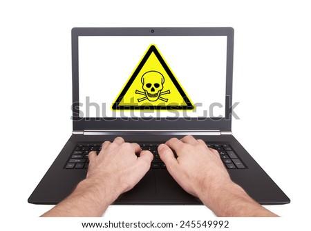 Man working on laptop, toxic, isolated - stock photo