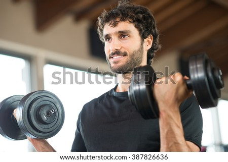 Man working out in a gym