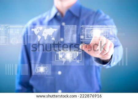 man working with digital virtual screen - stock photo