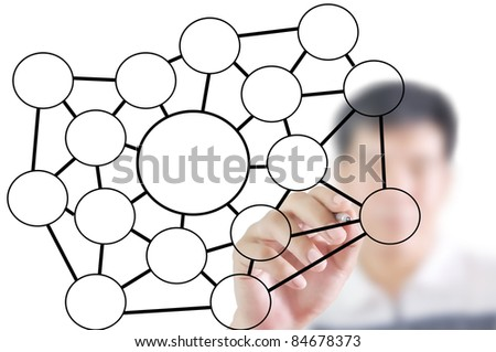 man write blank diagram or network chart - stock photo