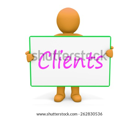 man write clients - stock photo