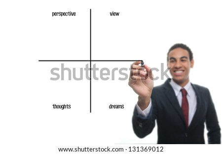 Man writing diagram: Perspective, View, Thoughts, Dreams - stock photo