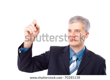 Man writing on a clear screen, add your own text or drawing - stock photo
