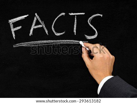 Man writing the word 'Facts' with chalk on blackboard background - stock photo
