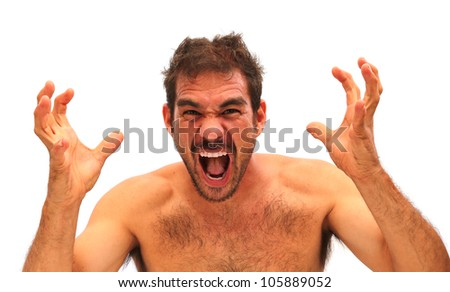 Man yelling with hands in air on a white background