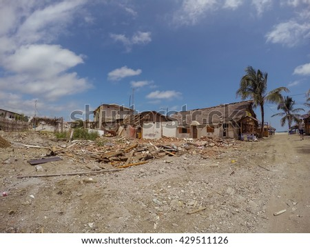 Manabi, Ecuador - May 04, 2016: Coast Cities Destroyed By The Massive Earthquake South America On April 16