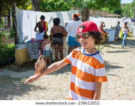 MANACA IZNAGA,CUBA-JULY 23,2014: Child tourist enjoys with a domesticated pray bird or kestrel in his hand. People are self employed in tourist areas and they do things in exchange for tips. - stock photo