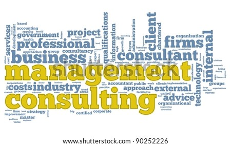 Management consulting concept in word tag cloud on white background