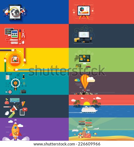 Management digital marketing srartup planning analytics design pay per click seo social media traveling tourism and development launch. Banners for websites flar design style. Raster version - stock photo