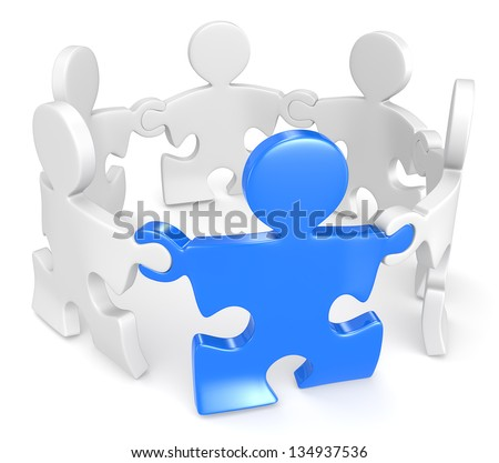 Management. Puzzle People x6 holding hands in circle. One Blue. - stock photo