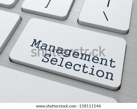 Management Selection. Button on Modern Computer Keyboard. Business Concept. 3D Render. - stock photo