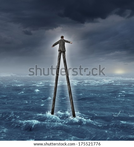 Management skills and career development as a businessman with very tall legs walking towards a glowing sun goal through a deep ocean as a metaphor for business success adaptation success expertise. - stock photo