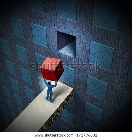 Management solutions closing the gap to a business challenge as a businessman lifting a cube to complete a wall with a group of organized objects as a project metaphor for leadership expertise. - stock photo