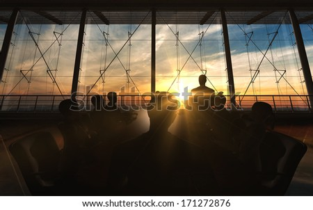 Management Team in office silhouette rendered by computer graphic. - stock photo