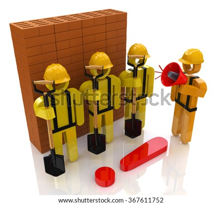 Management team of workers in the construction industry in the design of the information related to the construction - stock photo