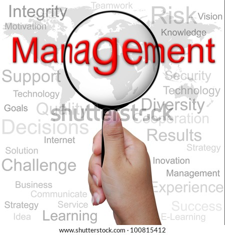 Management, word in Magnifying glass ,business background - stock photo