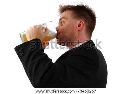 manager and beer - stock photo