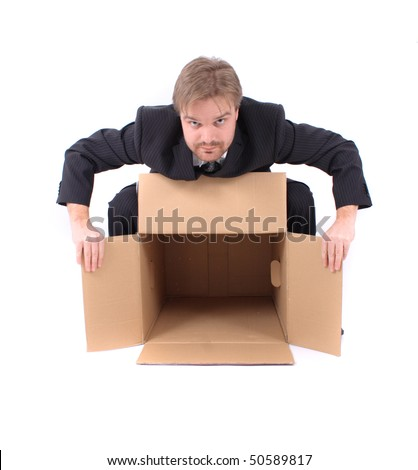 manager and empty box - stock photo