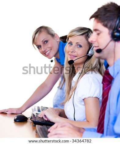 Manager and her team working in a call center