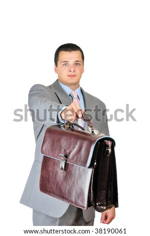 Manager and leather briefcase isolated on white - stock photo