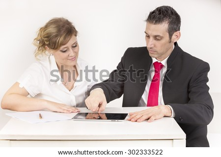 manager and secretary at work in the office