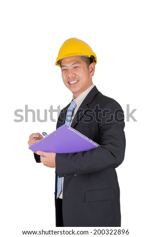 Manager asian business at happy complete job - stock photo
