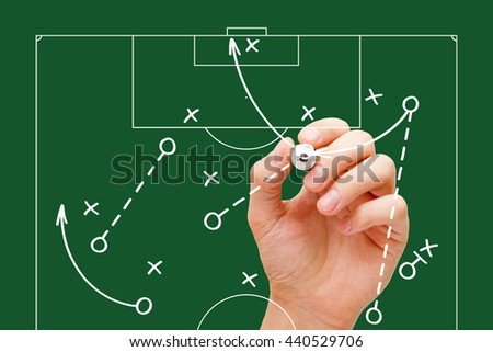 Manager drawing soccer game tactics with white marker on transparent wipe board over green background. Football coach explaining play strategy.