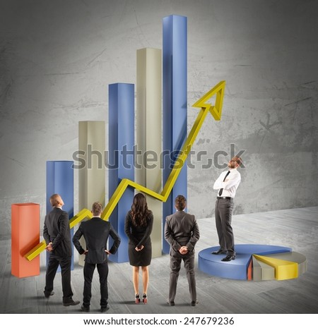 Manager explains his plan to company employees - stock photo