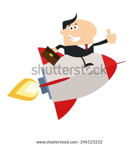 Manager Flying On The Rocket And Giving Thumb Up.Flat Style Raster Illustration - stock photo