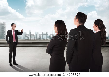 Manager give speech to other people. Business briefing conceptual