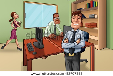 manager in a room with some workers - stock photo
