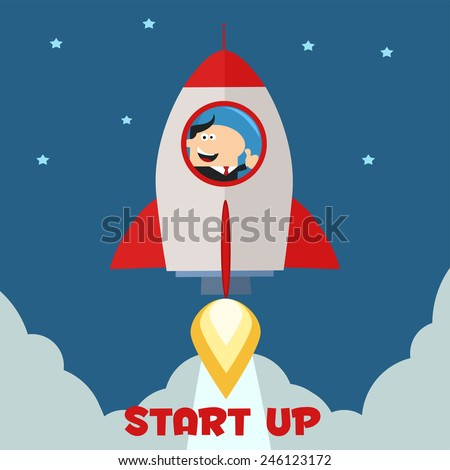 Manager Launching A Rocket To The Sky And Giving Thumb Up.Flat Style Raster Illustration With Text  - stock photo